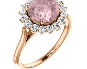 Natural AAA 8mm Round  Pink Morganite  14K Rose Gold Diamond engagement  Halo Ring Set - ST82717