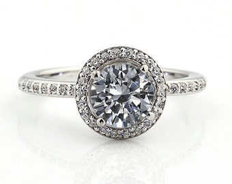 1.25 ct Forever One (GHI) Moissanite Solid 14K White Gold Diamond Engagement Ring - Gem828