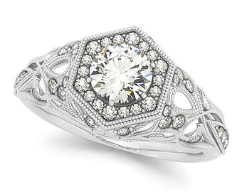 1/2 ct 5mm Forever One (GHI) Moissanite Solid 14k white gold Antique Style diamond Engagement Ring- Ov95787