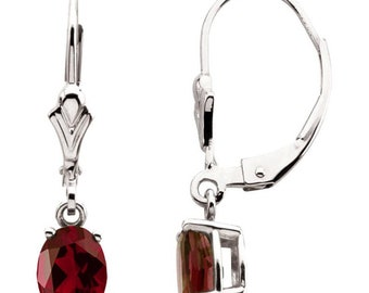 Ready to ship- Garnet Dangle Leverback Drop Earrings In 14K Yellow Gold, White Gold or Rose Gold. January Birthstone