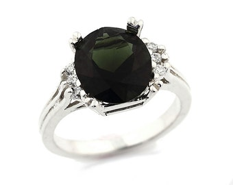 2.69cts Natural Green Chrome Tourmaline Solid 14K White Gold Diamond Ring