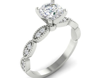 Round Blilliant Cut  Moissanite   14k White Gold Engagement Ring Set  ,Art Deco Vintage Engagement Ring  Set  -G924