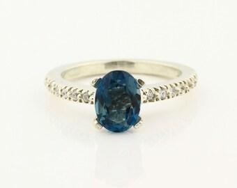 Natural London Blue Topaz Solid 14K White Gold Diamond Ring