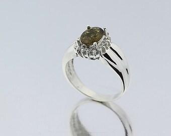 Natural Greenish Yellow  Tourmaline Solid 14K White Gold Diamond Ring