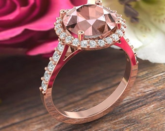 9mm Round Pink Morganite  14K Rose Gold Diamond engagement  Halo Ring set- Gem1621