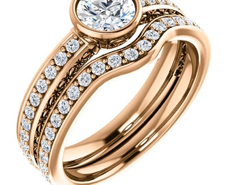 5mm Forever One (GHI) Moissanite Solid 14k Rose  gold Antique Floral Style diamond Engagement Ring Set- ST233625