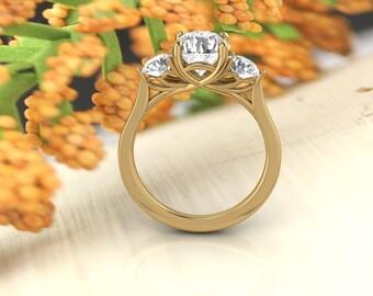 2.00 CT Round Moissanite (DEF) Fancy Style 3 Stones Ring In 14k Gold ,Diamond Ring ,Moissanite wedding ring  Gift For Her