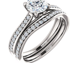 Certified center Natural White Sapphire Solid  14k white gold diamond  Engagement Ring Set ST82823