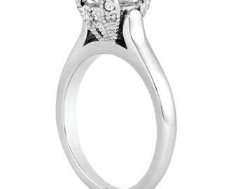 1 ct 6.5mm Round  Forever One (GHI) Moissanite Solid 14K White Gold  Solitaire  Engagement Ring ENR8073