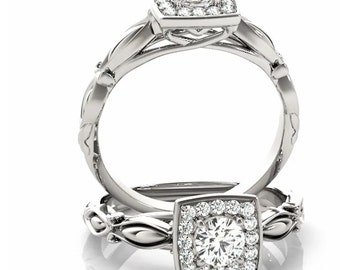 5mm  1/2 Ct  Round  Forever One (GHI) Moissanite Solid 14K White Gold Diamond Halo Engagement  Ring   - OV95780