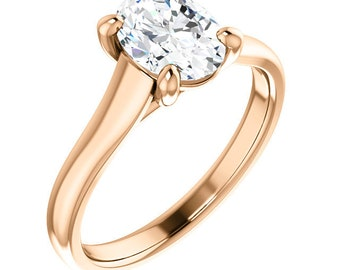 Certified  Forever One Moissanite Engagement Ring ,Round Brilliant Cut Diamond Simulant Wedding TRELLIS Style Ring In Solid 14K Rose Gold