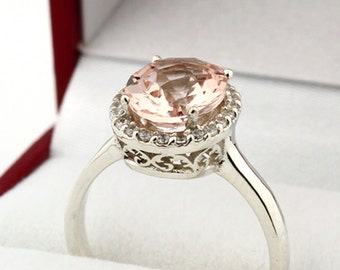 Natural AAA Checkerboard  Cut Oval 10x8mm Pink Morganite  14K White Gold Diamond engagement  Halo Ring with floral Pattern- Gem919
