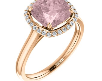 Natural AAA 8mm Antique Cushion Cut Morganite  Solid 14K Rose Gold Diamond Engagement halo  Ring Set - ST233171