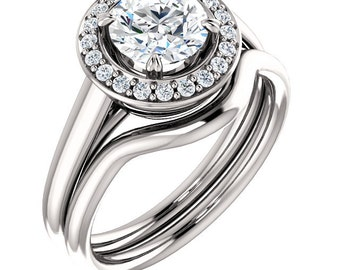 1ct 6.5mm  Forever One (GHI) Moissanite Solid 14K White Gold   Engagement  Ring Set  - ST233316