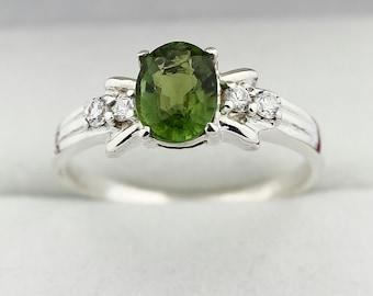 1 ct Natural Green Tourmaline Solid 14K White Gold Diamond Ring