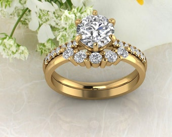 Solid 14K Gold Round Moissanite (DEF) Crown Style Engagement Ring Set  ,Diamond Ring ,Moissanite wedding ring  Gift For Her