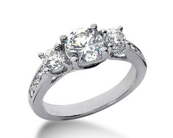 1.45Ct 3 Stones Brilliant Cut Moissanite Solid 14K White Gold Trellis Diamond Engagement Ring ENR7249