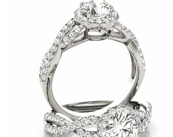 Infinity Twist Diamond & Forever One (GHI) Moissanite Engagement Ring in 14K White Gold Halo  Style Ring  OV95741-994