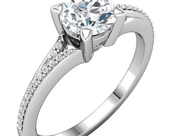 1ct Forever One (GHI) Moissanite Solid 14K White Gold   Engagement  Ring Set  - ST233772