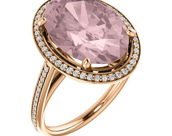 14K Rose Gold Natural Morganite and Diamond Halo wedding Ring Set -ST82782 With Certified Appraisal