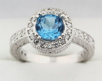 Natural Swiss Blue Topaz Solid 14K White Gold Antique Ring