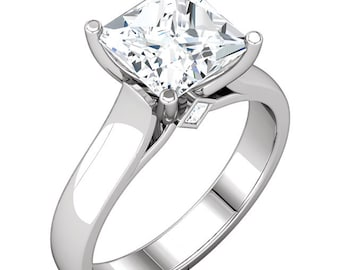 1.25  ct  Square Forever One (GHI) Moissanite Solid 14K White Gold Diamond  Engagement Ring-ST232669