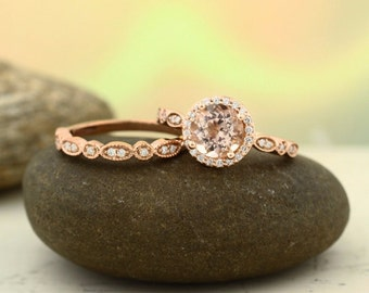 Art deco Milgrain  Bridal Set Fancy AAA  Morganite Engagement Set 14K Rose Gold Wedding Set(Other metals & stone options available) Gem1160