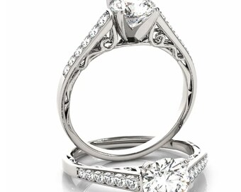 Certified  Forever One Moissanite Near Colorless  Solid 14k white gold diamond Engagement Ring- Ov95879