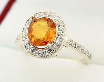 Natural Top Golden Yellow Sapphire Solid 14K White Gold Diamond  Halo Ring