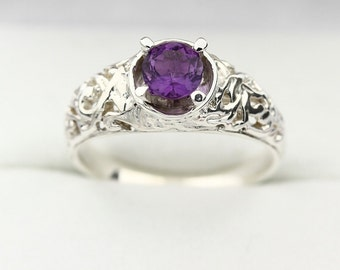 Natural purple Amethyst Solid 14K White Gold Ring