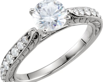 6.5mm  1 ct  Round Forever One (GHI) Moissanite 14K White Gold Diamond  Sculptural  Engagement  Solitaire  Ring   - ST2333414