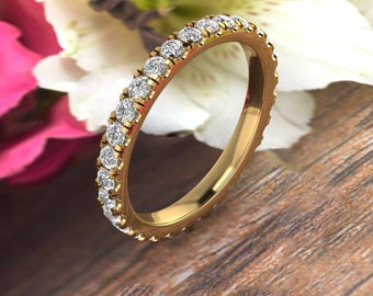 1.00 Carat French Set Eternity Ring Eternity Band Full Eternity Diamond Simulant  /Moissanite Ring 14K White Gold OR Yellow and Rose Gold