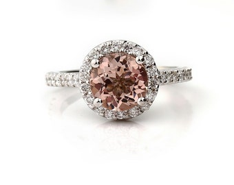 AAA 8mm Round Natural Morganite 14K White Gold Diamond engagement Ring ENR8906-876