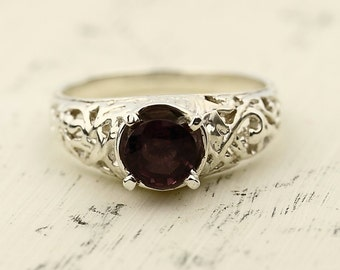 Stunning Natural titanium Fuchsia Pink  Spinel Solid 14K White Gold Ring