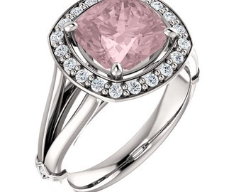 Natural AAA 8mm Antique Cushion Morganite  Solid 14K White Gold Diamond Engagement Ring Set-ST233400