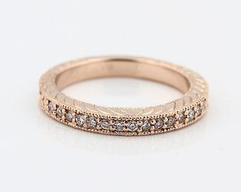 Natural Diamond Antique Wedding Band Ring 14k White Gold