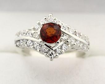Natural Spessoritite Garnet  Solid 14K White Gold Diamond Ring
