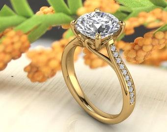 Solid 14K Gold 2.00 CT Round Moissanite (DEF) Engagement Ring ,Diamond Ring ,Moissanite wedding ring  Gift For Her