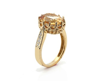 Natural 11x9mm Oval Citrine Solid 14K Yellow Gold Diamond engagement Ring