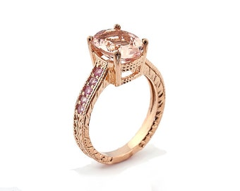 Stunning Natural 10x8mm Oval Morganite  Solid 14K Rose Gold pink sapphire engagement Ring- antique style - Special -Gem663