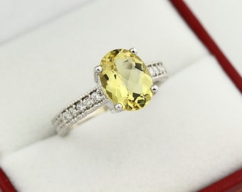 Natural 10x8mm Yellow  Beryl Solid 14K White Gold Diamond engagement Ring-antique style