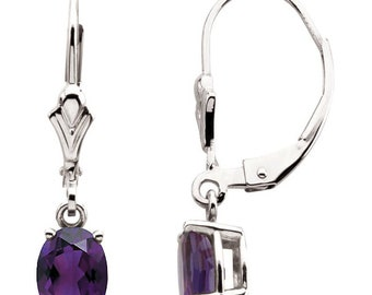 Ready to ship-Amethyst  Dangle Leverback Drop Earrings In 14K Yellow Gold, White Gold or Rose Gold.February Birthstone
