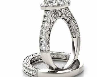 1/2 ct Forever One (GHI) Moissanite Solid 14k white gold Antique Style Engagement Ring Set - Ov61767-1417-1327