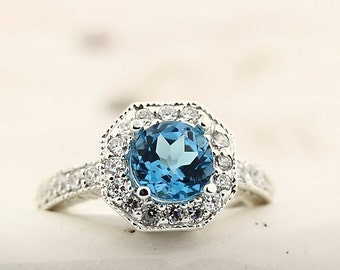 Natural  7MM Swiss Blue Topaz Solid 14K White Gold Antique Ring