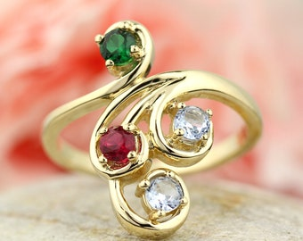 4 Birthstones Mother's Ring in Solid 14k White, Yellow Or Rose Gold  Custom Family Ring ST82581