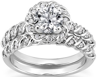 1 carat 6.5mm Round Forever One (GHI) Moissanite  Halo Twisted Diamond Engagement Ring Set, Bridal Set   ENS4296