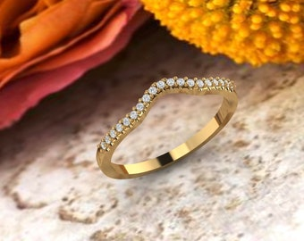Curved wedding band 14K gold Round Diamond/Moissanite wedding ring stacking matching band Bridal set Promise Gift for women
