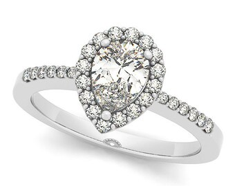7x5mm  Pear Forever One (GHI) Moissanite  and Diamond Accented Halo Wedding Ring    - OV94509