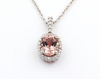 "Natural Oval Pink  Morganite   Solid 14K White Gold Halo  Diamond pendant with 18"" Cable chain P133 Holiday Promotions"