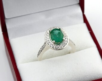 Stunning Natural  Green Emerald  Solid 14k white gold diamond Halo Ring